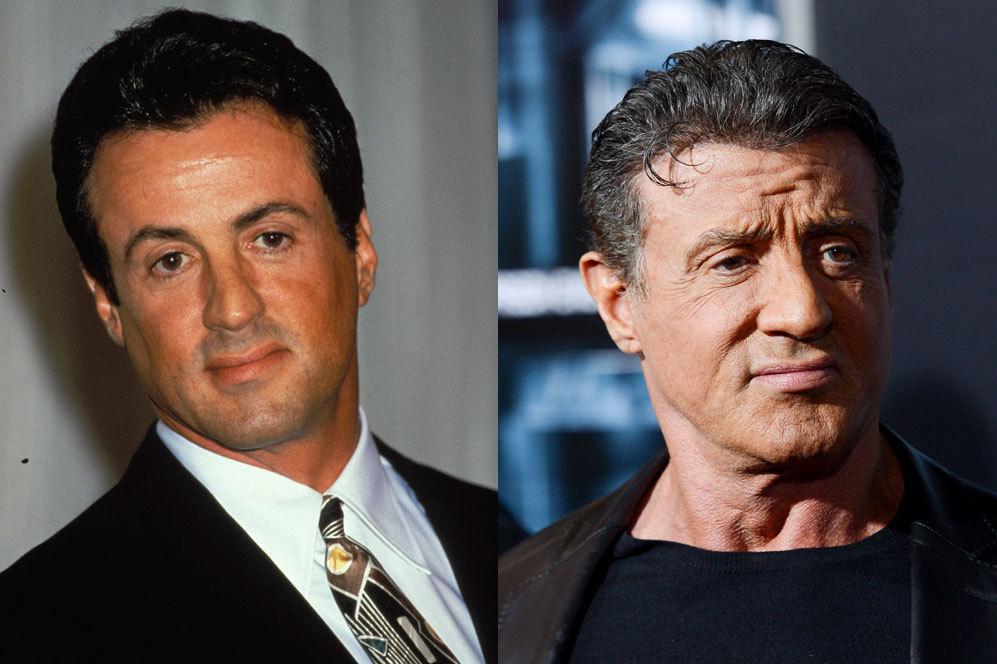 Antes y después del actor Sylvester Stallone